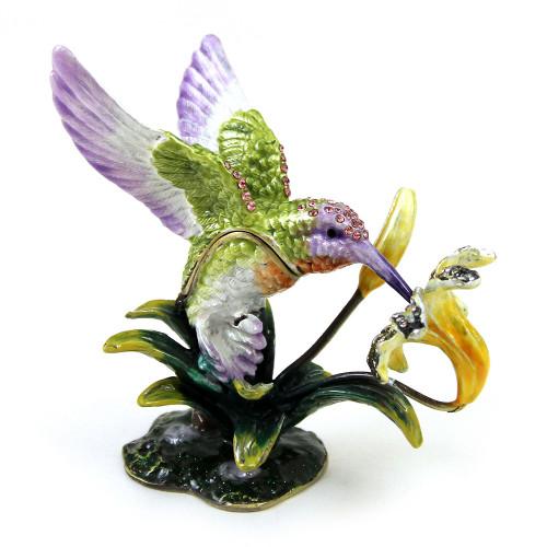 Шкатулка Колибри на цветке