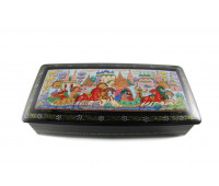 """Lacquer miniature (jewelry box) """"Holiday in Suzdal"""", Mstyora"""
