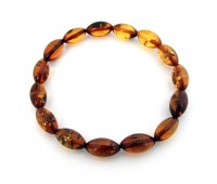 Natural Baltic amber bracelet, honey amber, 8 cm