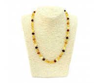 Amber beads, milky, brandy and honey amber, 42 cm
