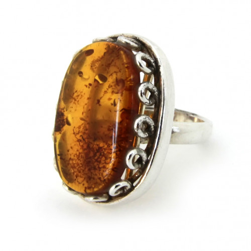 Кольцо, медовый янтарь