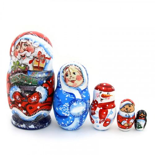 "Матрешка ""Дед Мороз с новогодними подарками"", 5 мест"