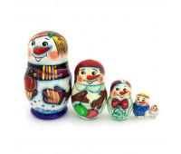 """Матрешка """"Снеговик со снегирем"""", 5 мест"""