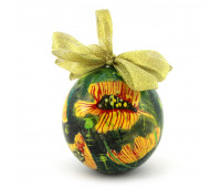 Christmas tree ball in floral pattern, wooden