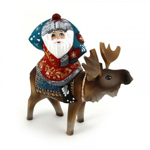 Резной Дед Мороз на олене, дерево