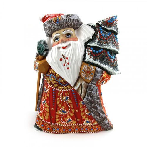 Деревянный Дед Мороз с елкой