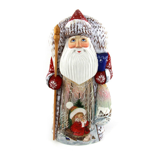 Деревянная фигура Деда Мороза с посохом