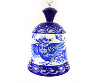 """Hand-painted bell """"Gzhel"""", wood"""