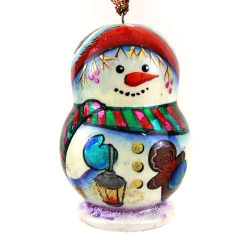 "Елочная игрушка из дерева ""Снеговик"", форма матрешки"