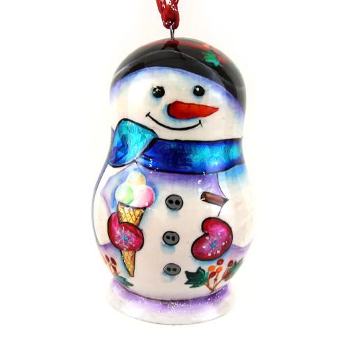 """Деревянная елочная игрушка """"Снеговик"""" в форме матрешки"""