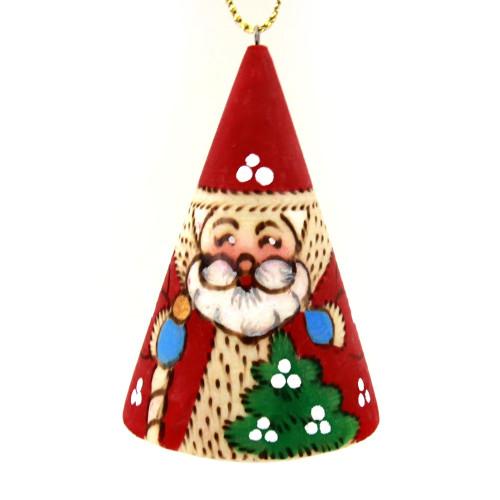 """Деревянная елочная игрушка """"Дед мороз"""", в виде конуса"""