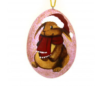 """Hand-painted wooden egg """"Bunny in Christmas hat"""""""