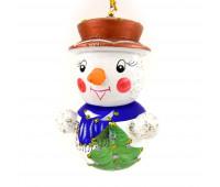 """Елочная игрушка """"Деревянный снеговик"""""""