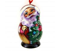 """Деревянная елочная игрушка """"Дед мороз"""" в форме матрешки"""