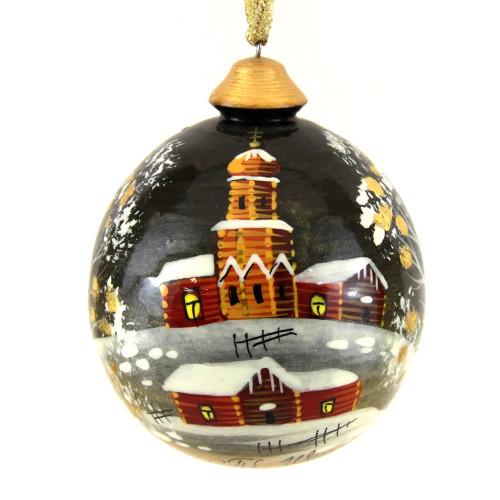 """Деревянный расписной шар-шкатулка """"Церквушка"""""""
