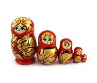 """Little matryoshka """"Khohloma"""", red (Babushka dolls)"""