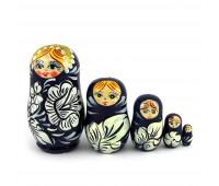 """Little matryoshka """"Khohloma"""", blue (Babushka dolls)"""