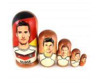 """Matryoshka """"Germany team"""", 5 pieces (Russian Babushka doll)"""