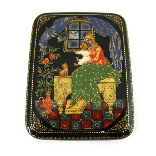 "Lacquered miniature ""Near Window"", Palekh"