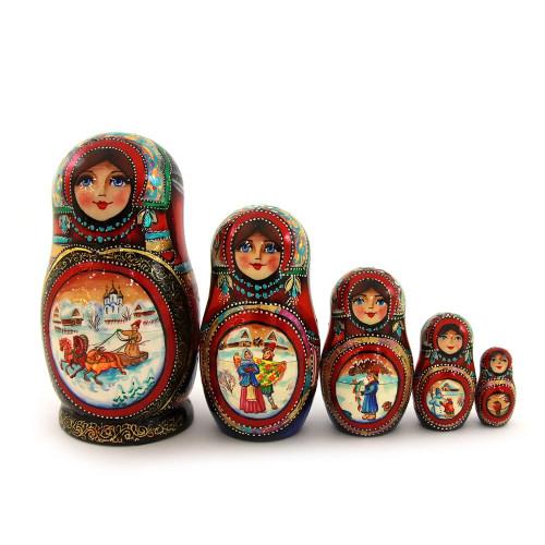 "Матрешка ""Русская сказка - Тройка"", 5 мест"