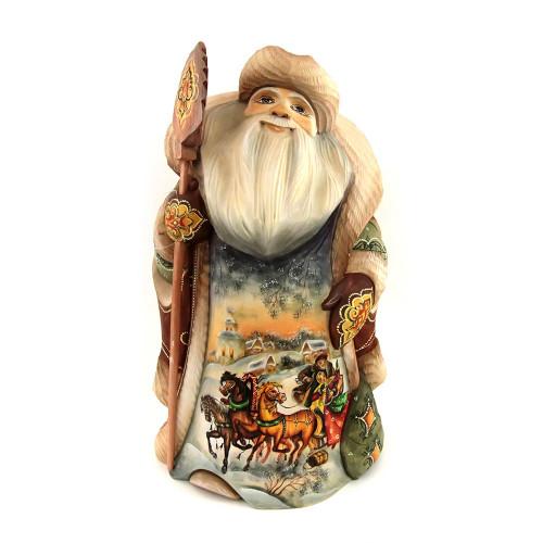 Дед Мороз с изображением русской тройки, высота - 31 см