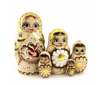 Matryoshka with burnt surface, 5 pieces (Nesting dolls)