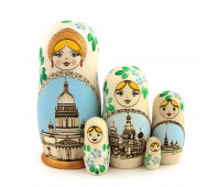 "Matryoshka with burnt surface ""City View"", 5 pieces (Nesting dolls)"