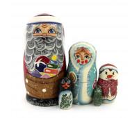 "Матрешка ""Дед-мороз, снегурочка, снеговик и пингвин"", 5 мест"