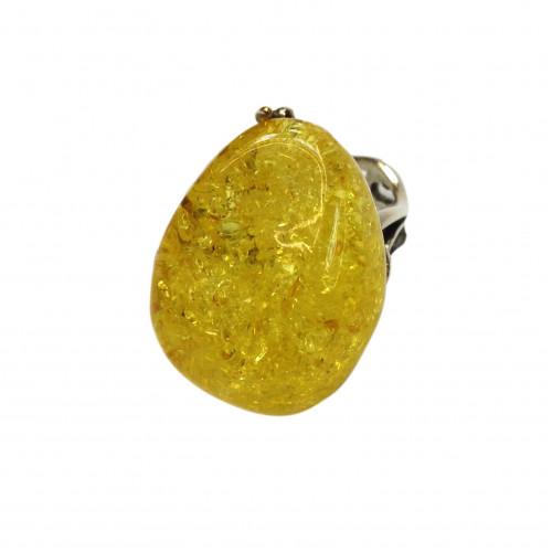 Кольцо с янтарем, лимонный янтарь
