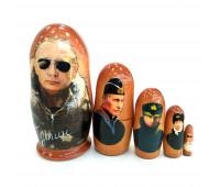 "Matryoshka ""Putin V.V."", small, 5 pieces (Nesting dolls)"