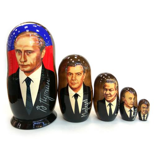 """Матрешка """"Президенты России: Путин, Медведев, Ельцин, Горбачев, Брежнев"""", 5 мест"""