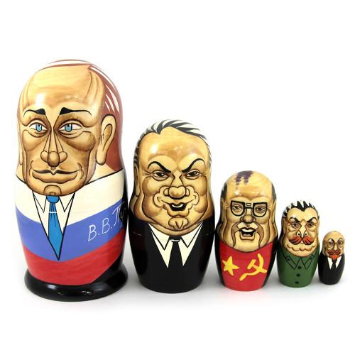 """Матрешка """"Политики России и СССР"""": Путин, Горбачев, Брежнев, Сталин, Ленин, 5 мест"""