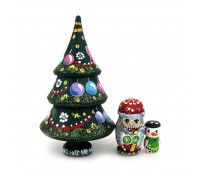 "Matryoshka ""Christmas tree, Santa Claus and Snowman"", 3 pieces (Nested doll)"