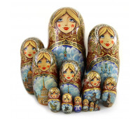 """Matryoshka """"Church of the Saviour on the Spilled Blood, Saint-Petersburg"""", 15 pieces (Nested dolls)"""