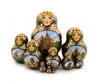 """Matryoshka """"Church of the Saviour on the Spilled Blood, Saint-Petersburg"""", 10 pieces (Nested dolls)"""