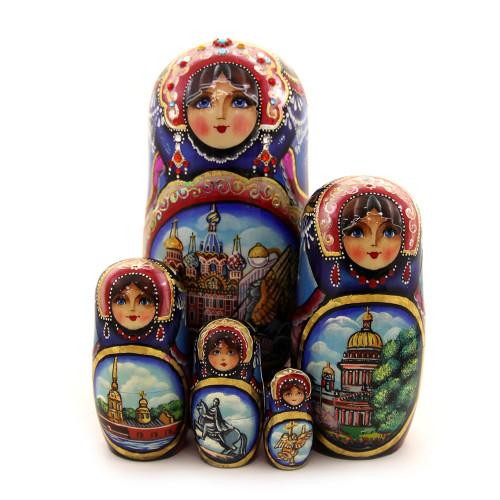 """Матрешка """"Известные достопримечательности Санкт-Петербурга"""", 5 мест"""