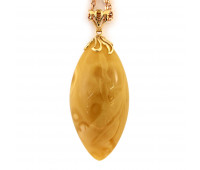 Pendant, baltic milky amber with gold