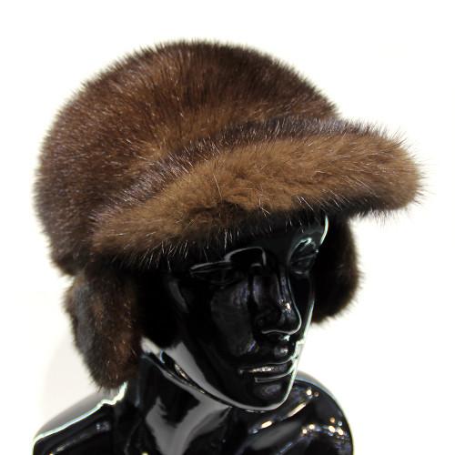 Женская норковая шапка-ушанка