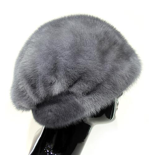 Голубая норковая шапка