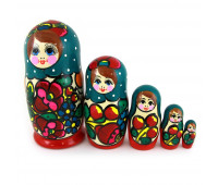 "Matryoshka ""Maidan, colorful scarf"", 5 pieces (Russian Babushka doll)"