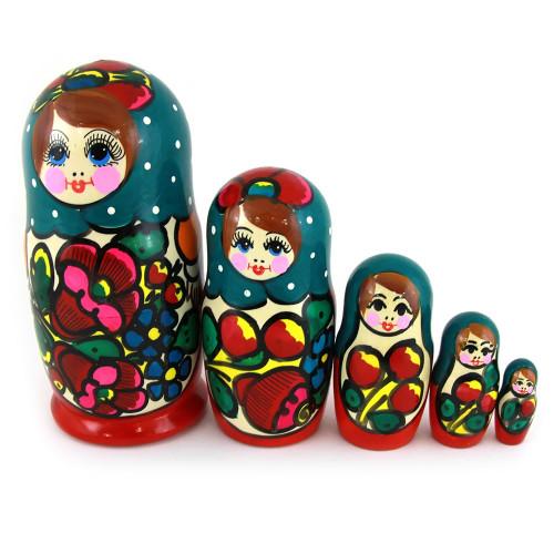 "Matryoshka ""Maidan, colorful scarf"", 5 pieces (Russian Babushka doll)"