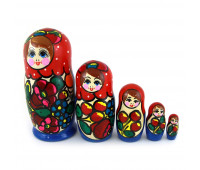"Matryoshka ""Maidan, red scarf"", 5 pieces (Nested dolls)"