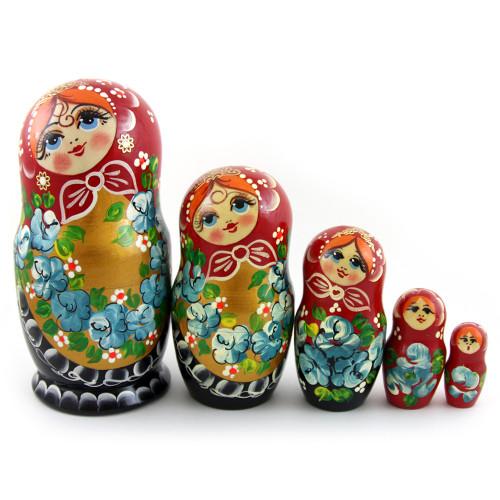 """Русская матрешка """"Цветы"""", 5 мест"""