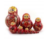 Русская матрешка Красные птицы, 10 мест