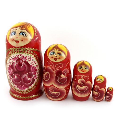 Русская матрешка , красная, 5 мест