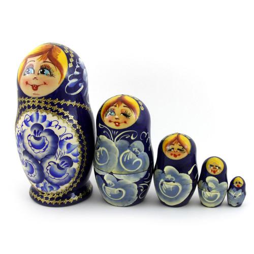 Русская матрешка , синяя, 5 мест