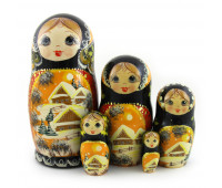 "Nesting dolls ""Winter view"", 5 pieces"