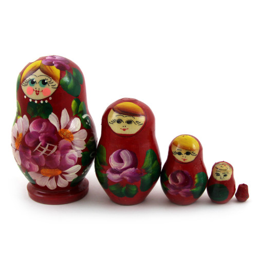 "Традиционная матрешка ""Цветы"", красная, 5 мест"