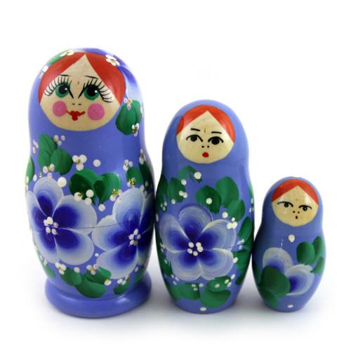 """Матрешка """"Цветы"""", синего цвета, 3 места"""