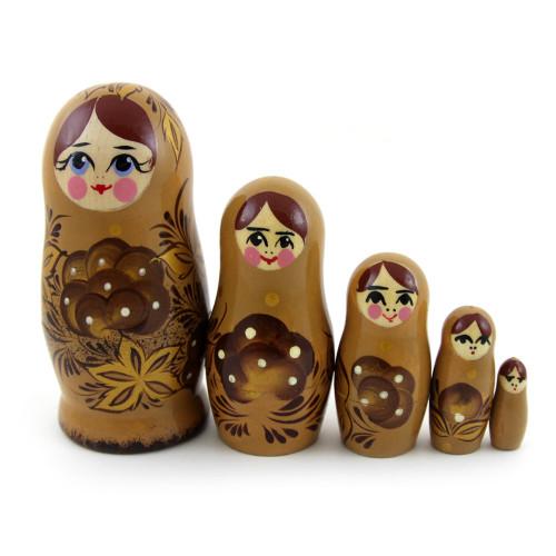 """Русская матрешка """"Цветы"""", коричневая, 5 мест"""
